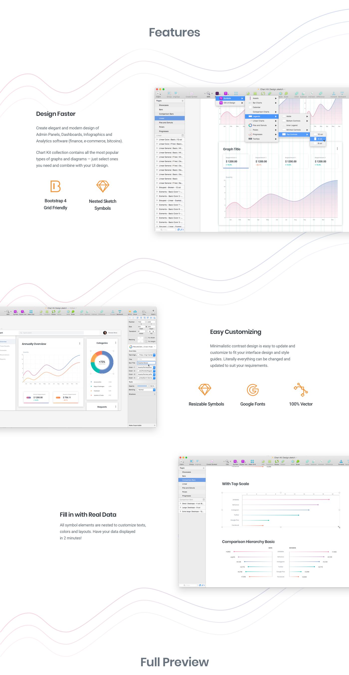 ui kit dashboard Web chart plot diagam progress bars donut polar