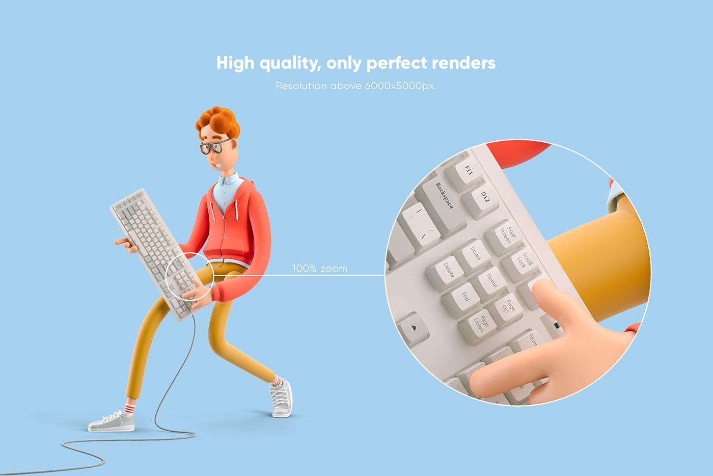 3D cartoon Character free Larry nerd design png psd Render