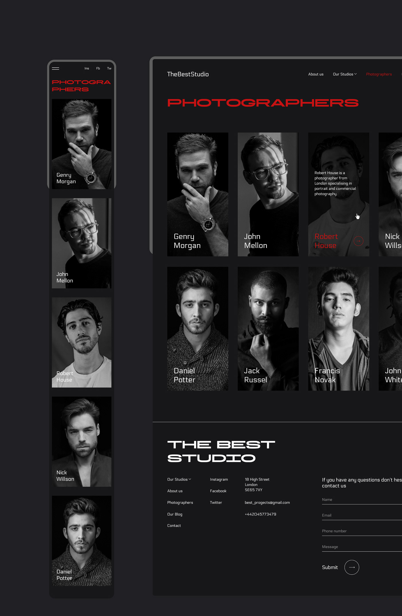 identity Interaction design  landing page photo photographer photostudio studio ui design UX design ux/ui