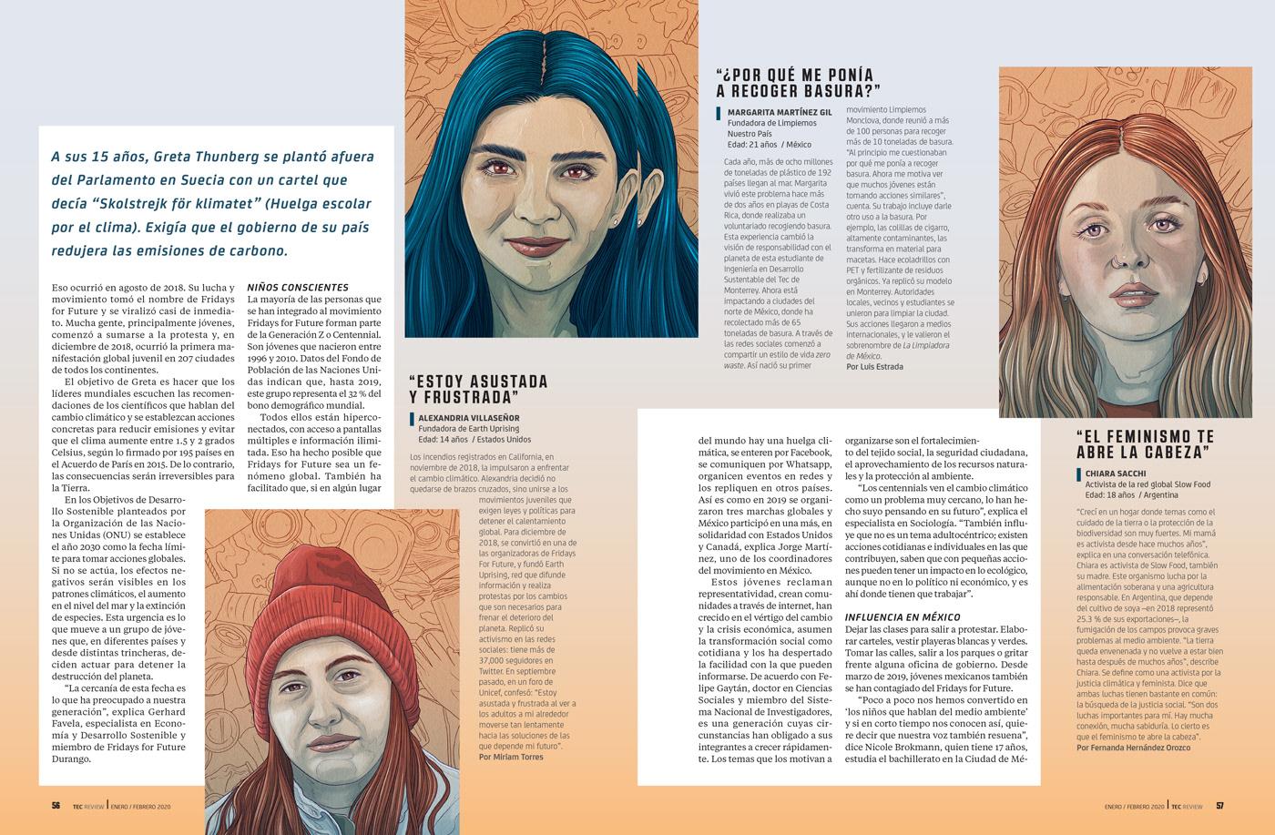 greta thunberg,activist,magazine,Editorial Illustration,digital illustration,portrait