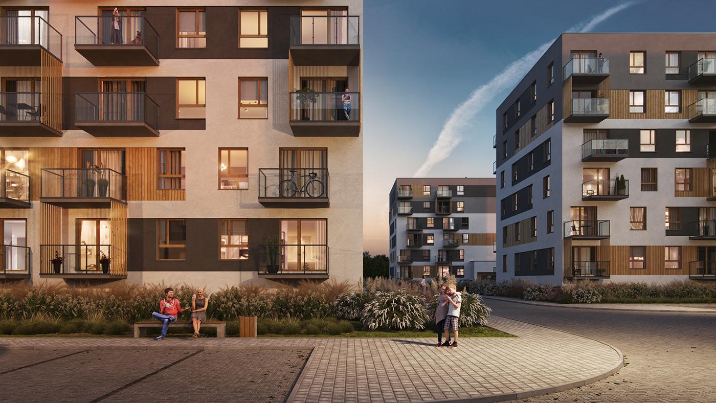 apartamenty apartment apartments Bloki estate flat housing mieszkania osiedle Wizualizacje