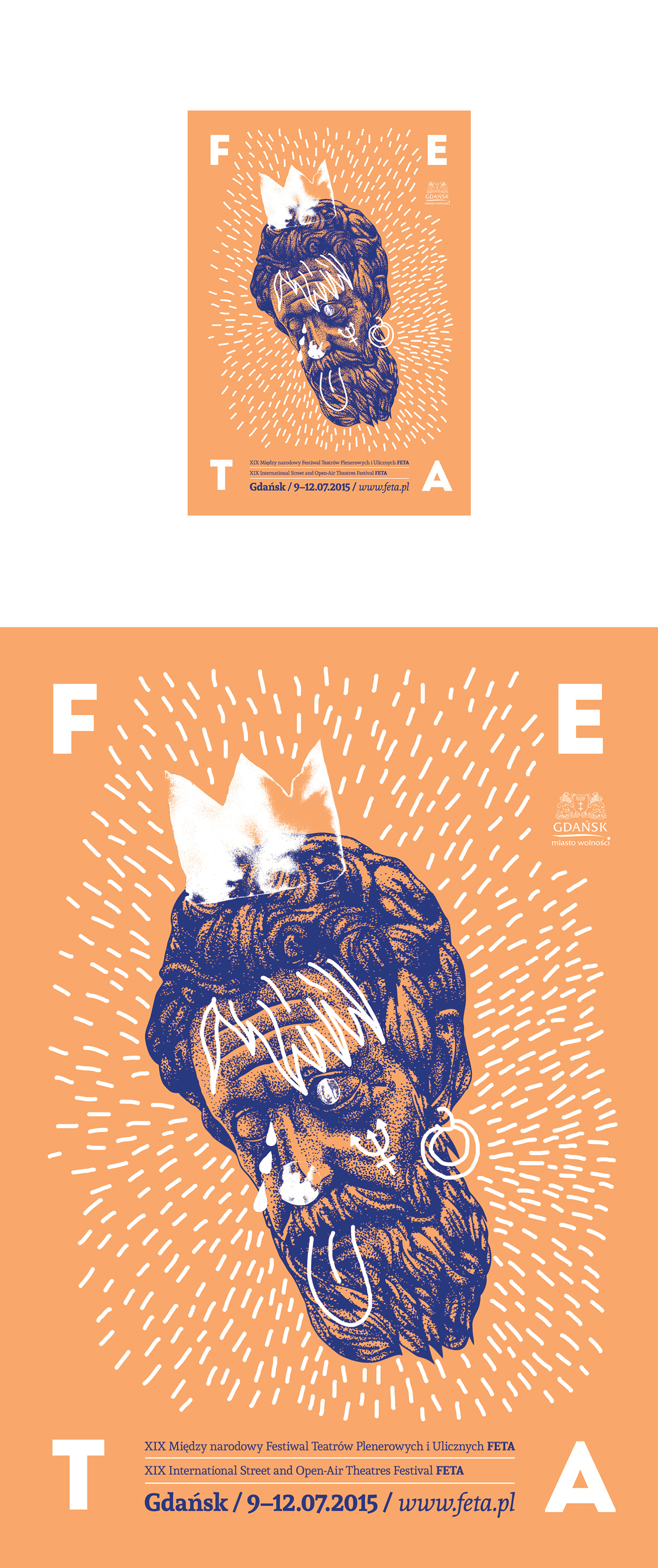 poster plakat Theatre festival Gdansk neptun neptune poseidon posejdon ilustracja