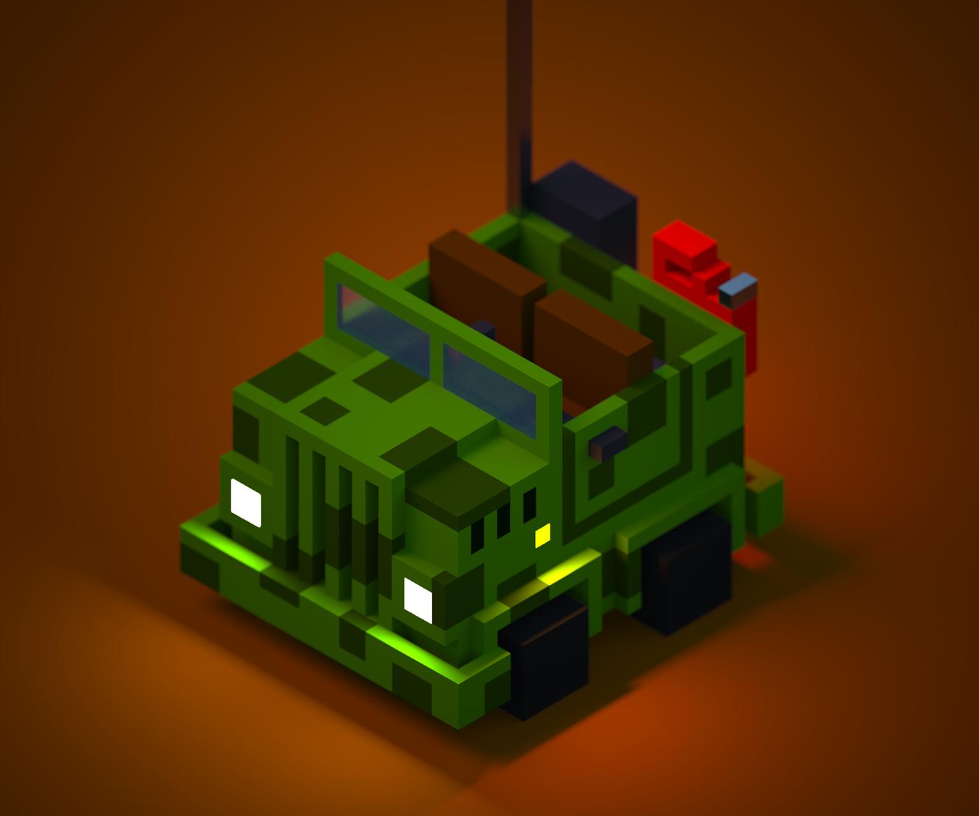 Cars toys pixels voxels Digital Art  graphic design