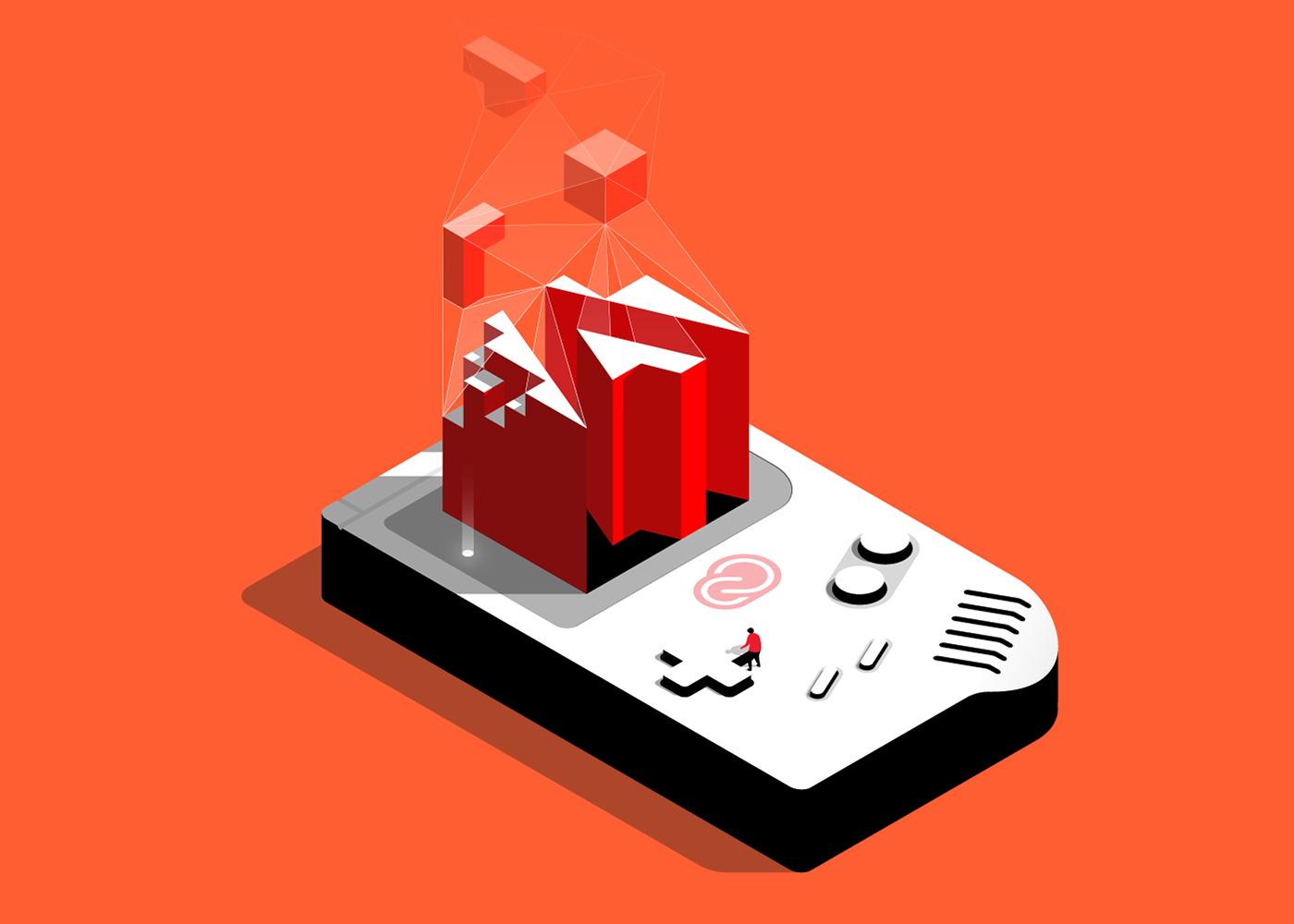 Game Boy vector isometric illustration