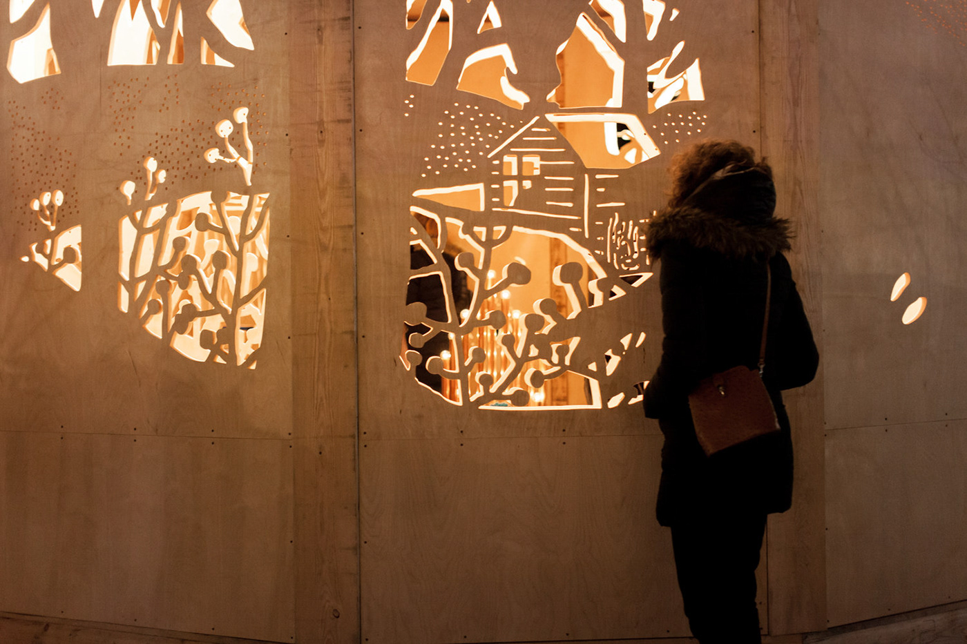 noel market joliette Stories winter installation cutout Christmas wood