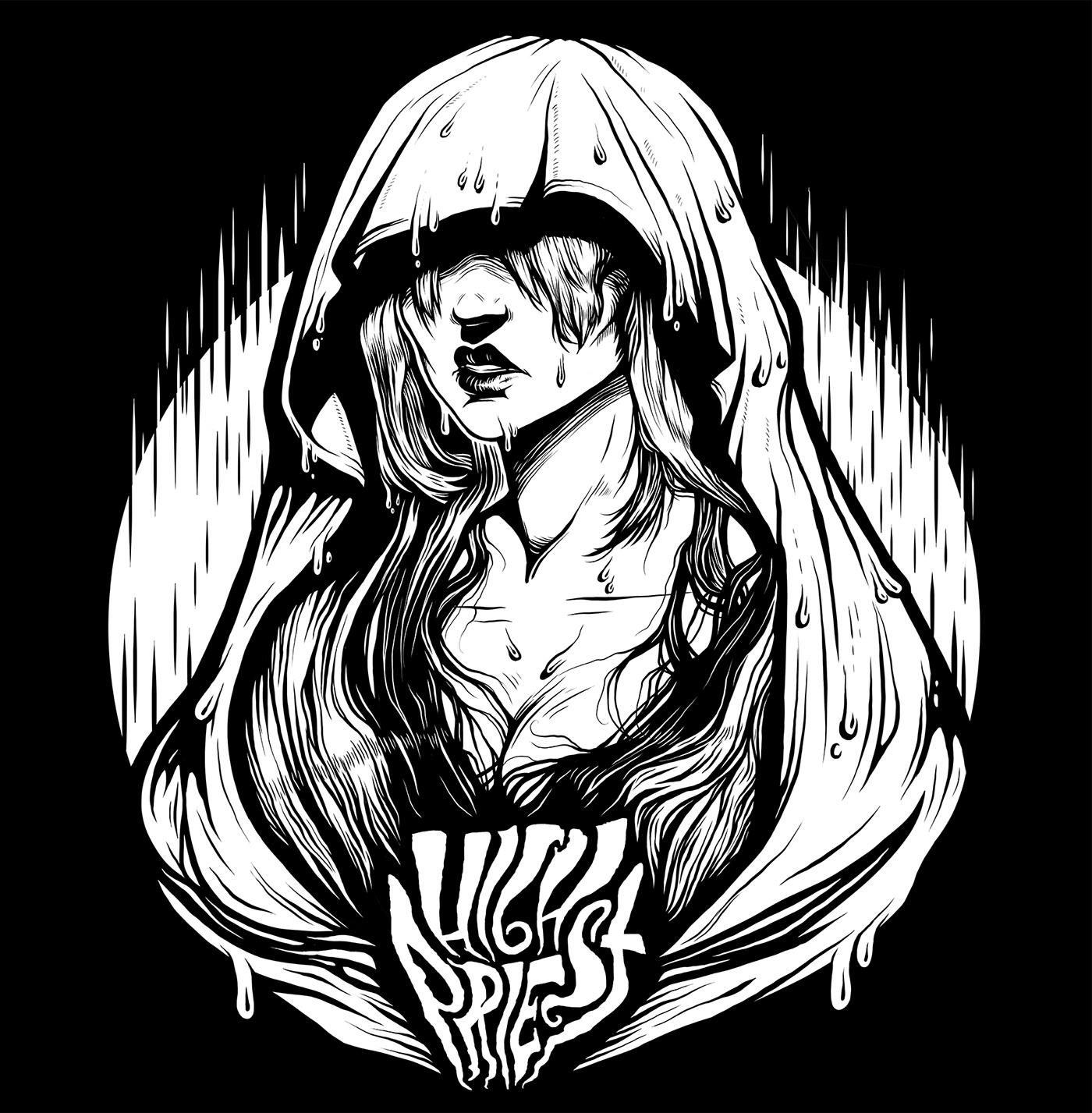 high priest doom metal band merch woman portrait ink