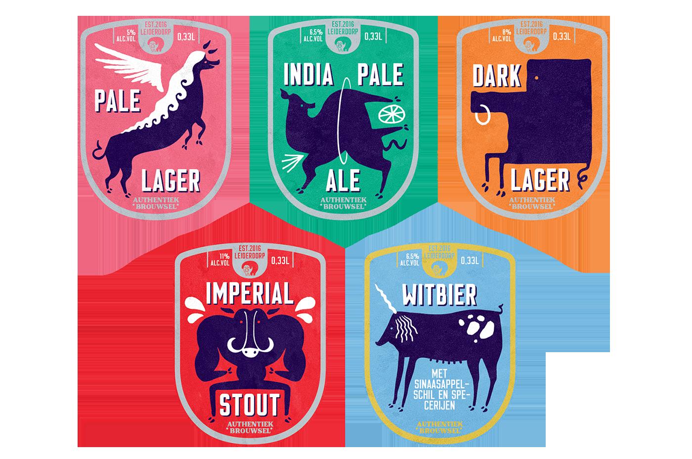 beer Label logo seal dutch netherland pig HOG ale brewery