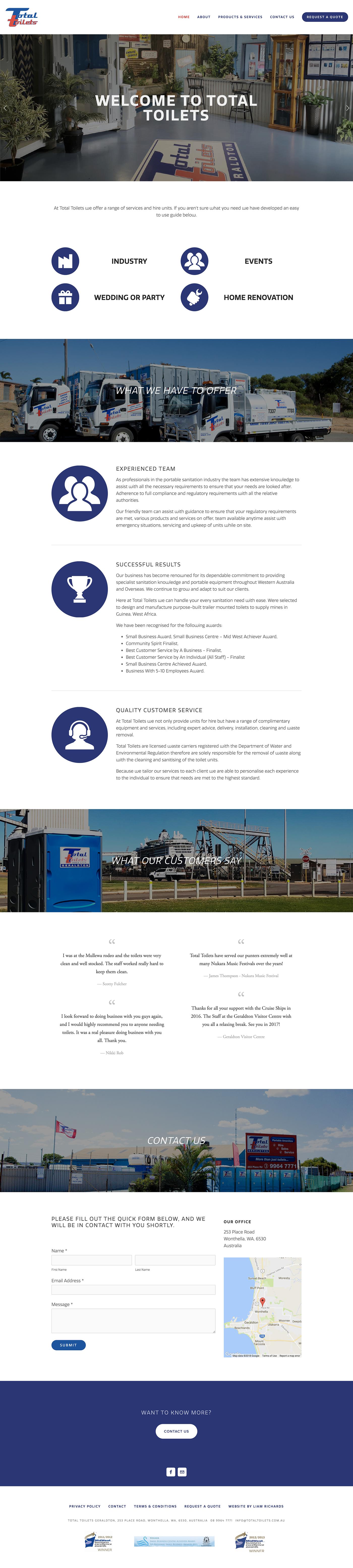 Total Toilets Website on Behance