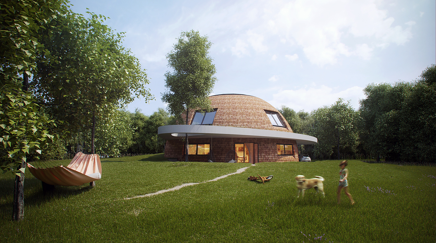 Cottage house sphere architecture design visualisation 3d render
