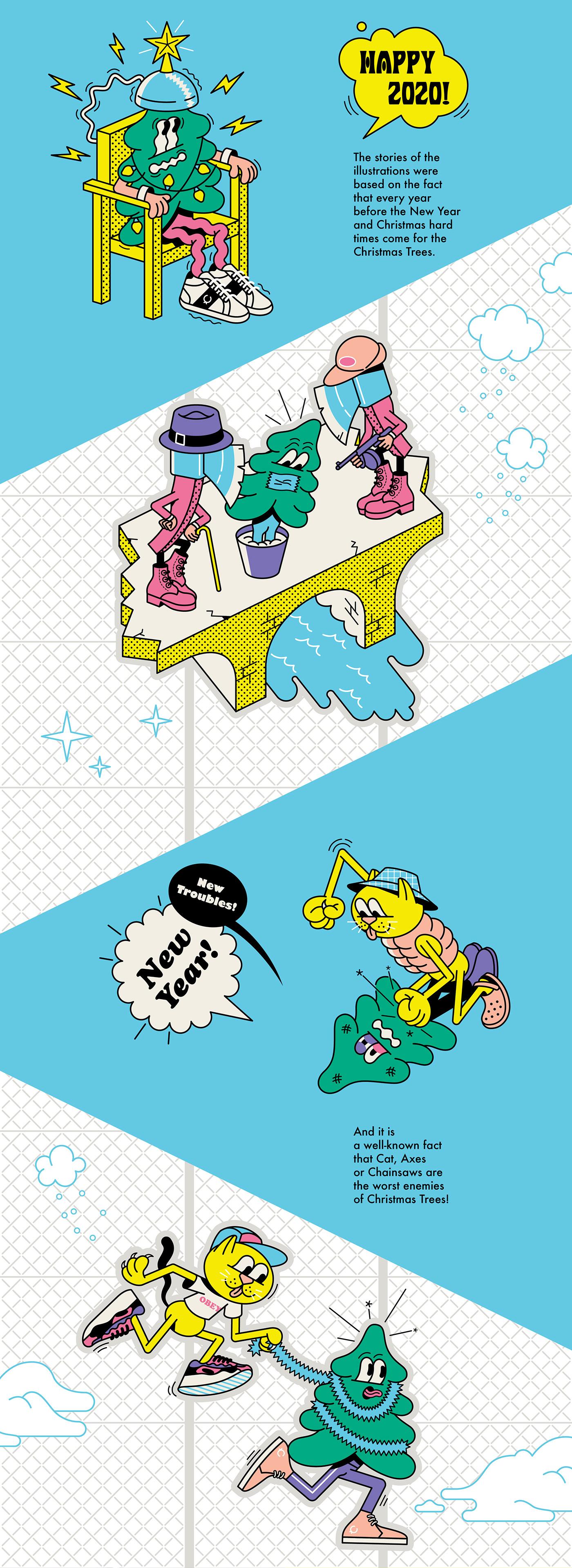 Cat Christmas christmas Tree fight new year sticker streetwear video violence xmas