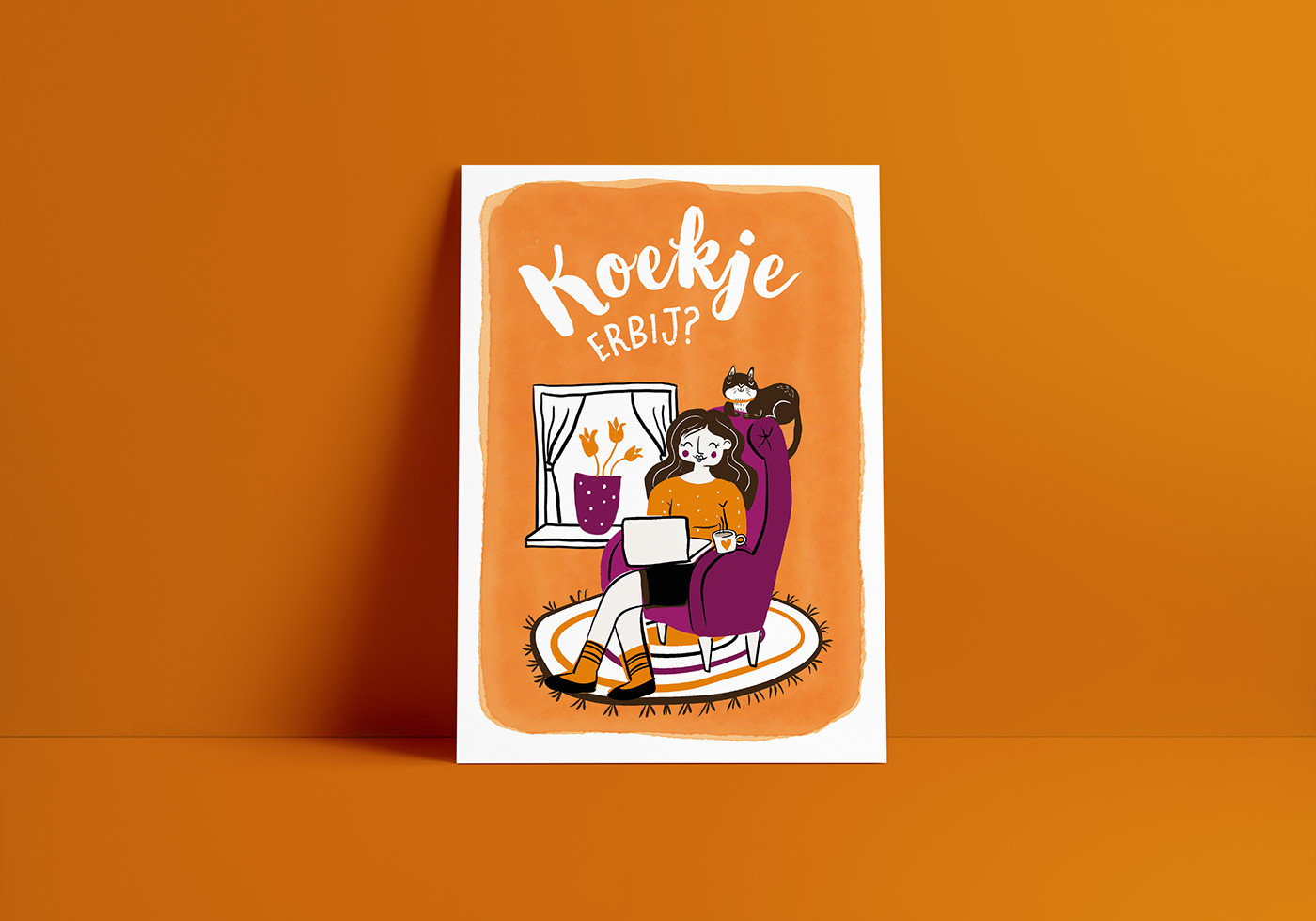 card Cat cookie greetingcard Homeschool ILLUSTRATION  teacher visual