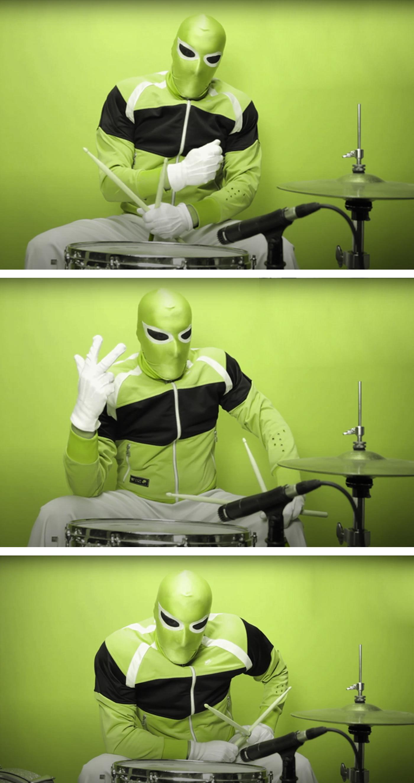 drum super Hero green mask