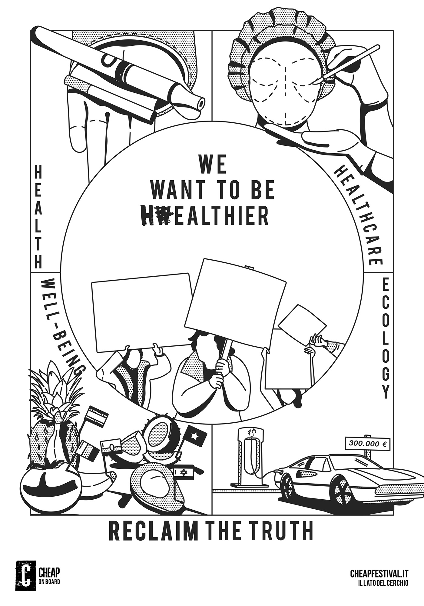 bologna,Cheap,climate,Ecology,Education,Health,poster,Reclaim,truth,wealth