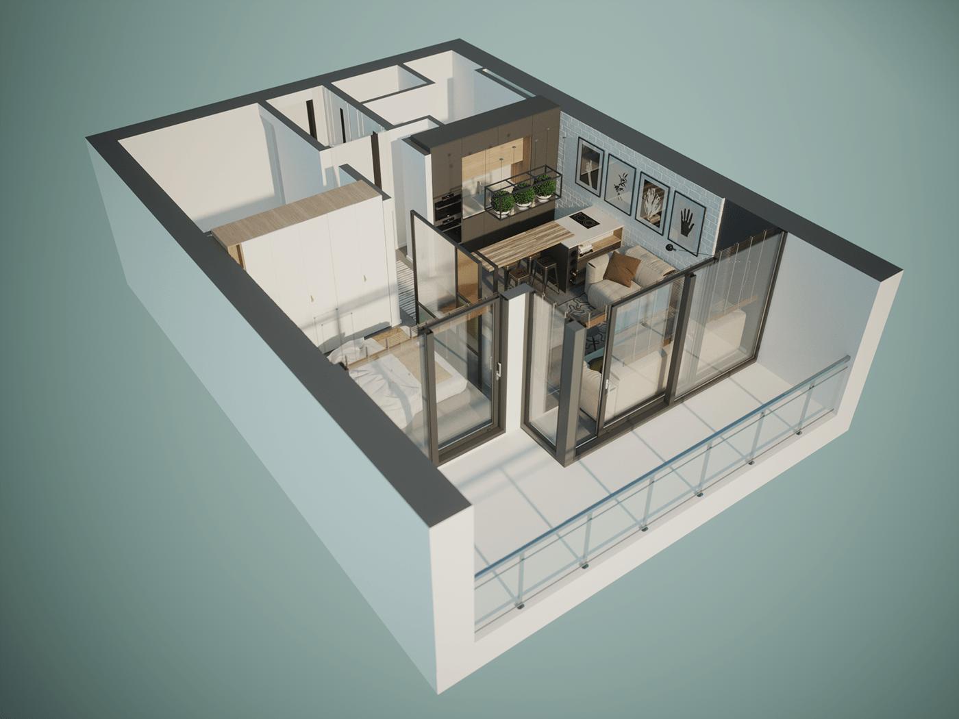 3ds max archviz FStorm industrial interior design  White Walls
