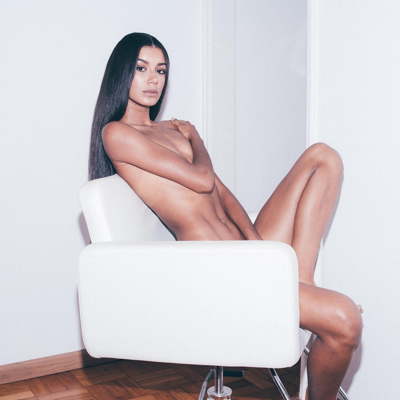 Fashion  woman Flash Canon shooting photoshoot beauty body nude sexy apartment minimalist clean White