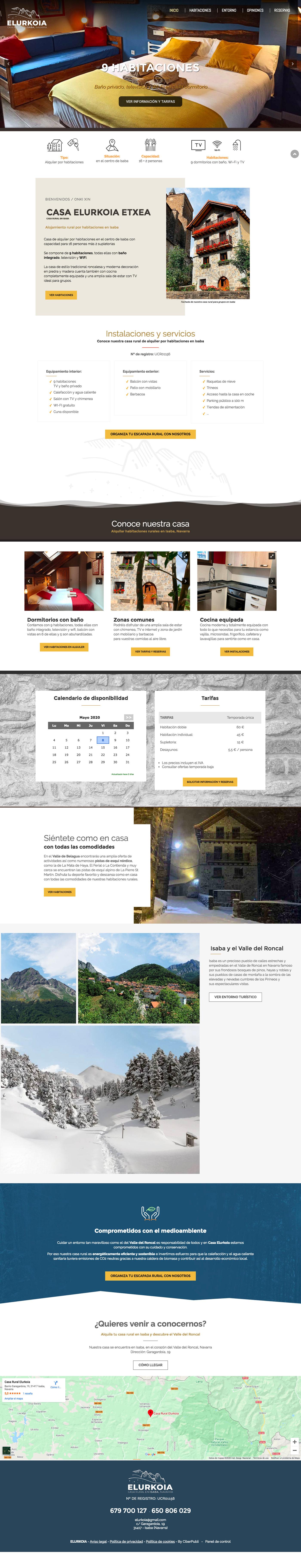 Diseño web casa rural en Isaba, Navarra
