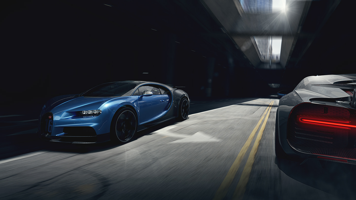 A bugatti chiron in the streets of los angeles