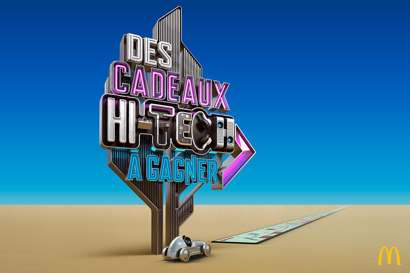 McDonalds Monopoly Games signs desert CGI 3D typography 3D Type