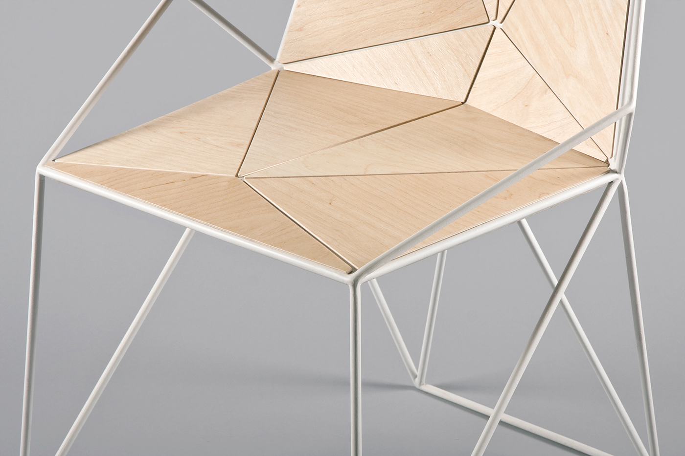furniture product design plan-s23 wood chair metal construction polygonal