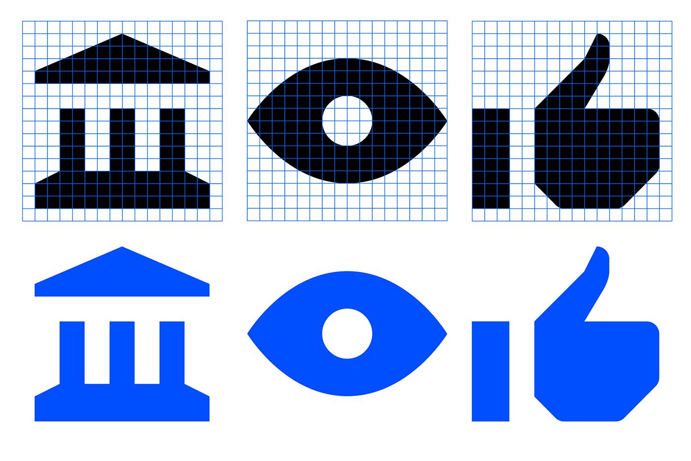 Icon pictogram barcelona ILLUSTRATION  blue Web iconography grid minimal geometry