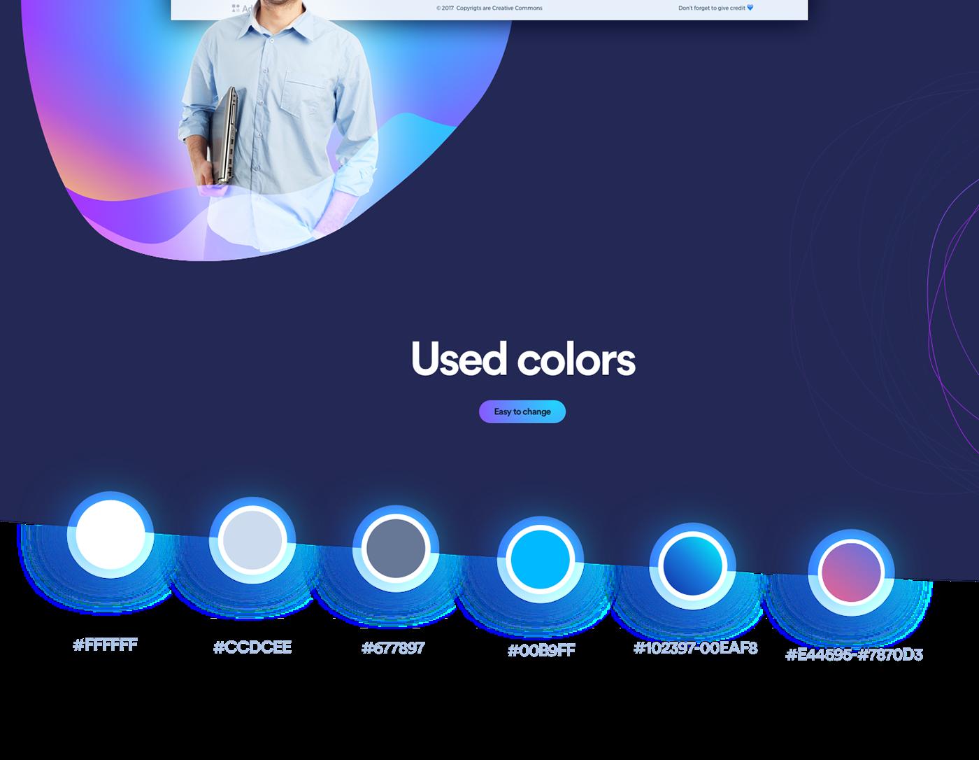 UI ux Webdesign free business Startup webpage template landing Website