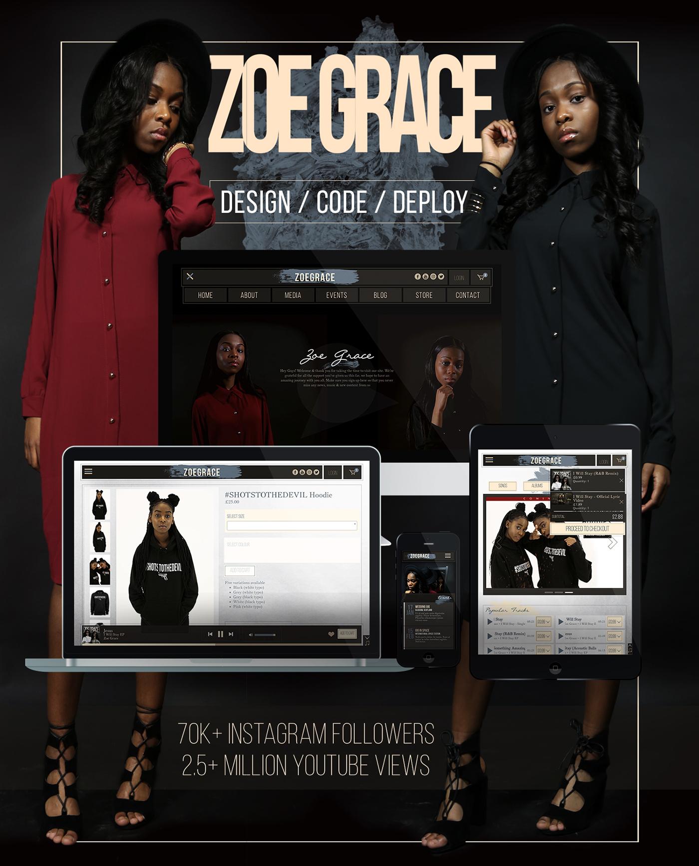 zoegrace Music Player React.js redux laravel Visual Effects  Pixi.js Web Design  Web UI mobile ui/ux