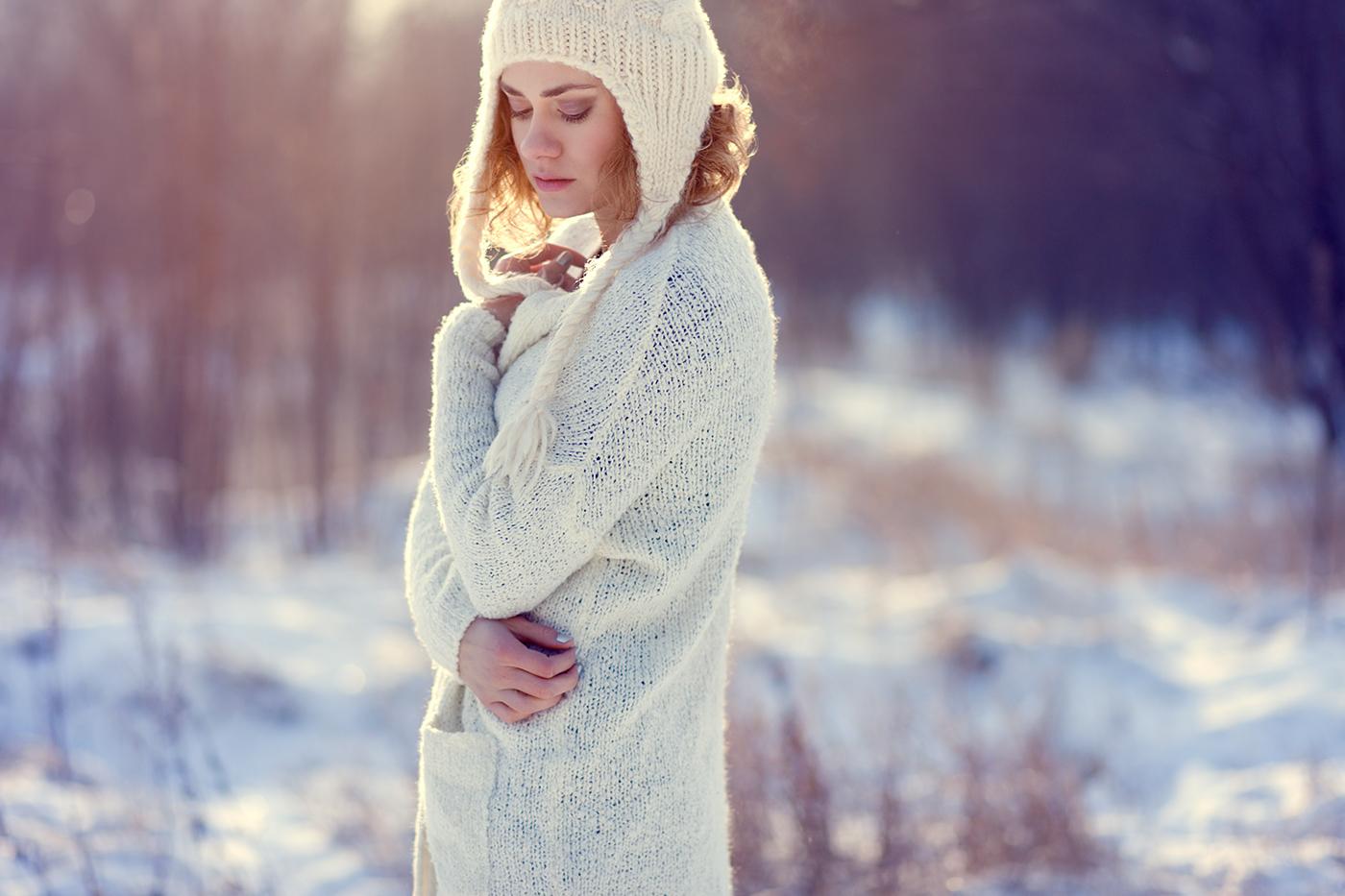 Adobe Portfolio model outdoors winter