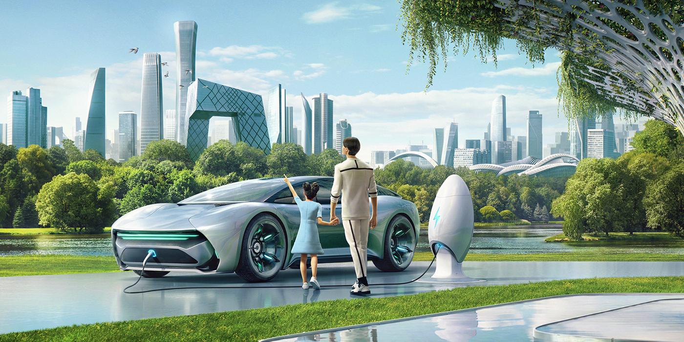 didi automotive   futuristic car hailing Vehicle future Innovative 3D matte paiting modeling
