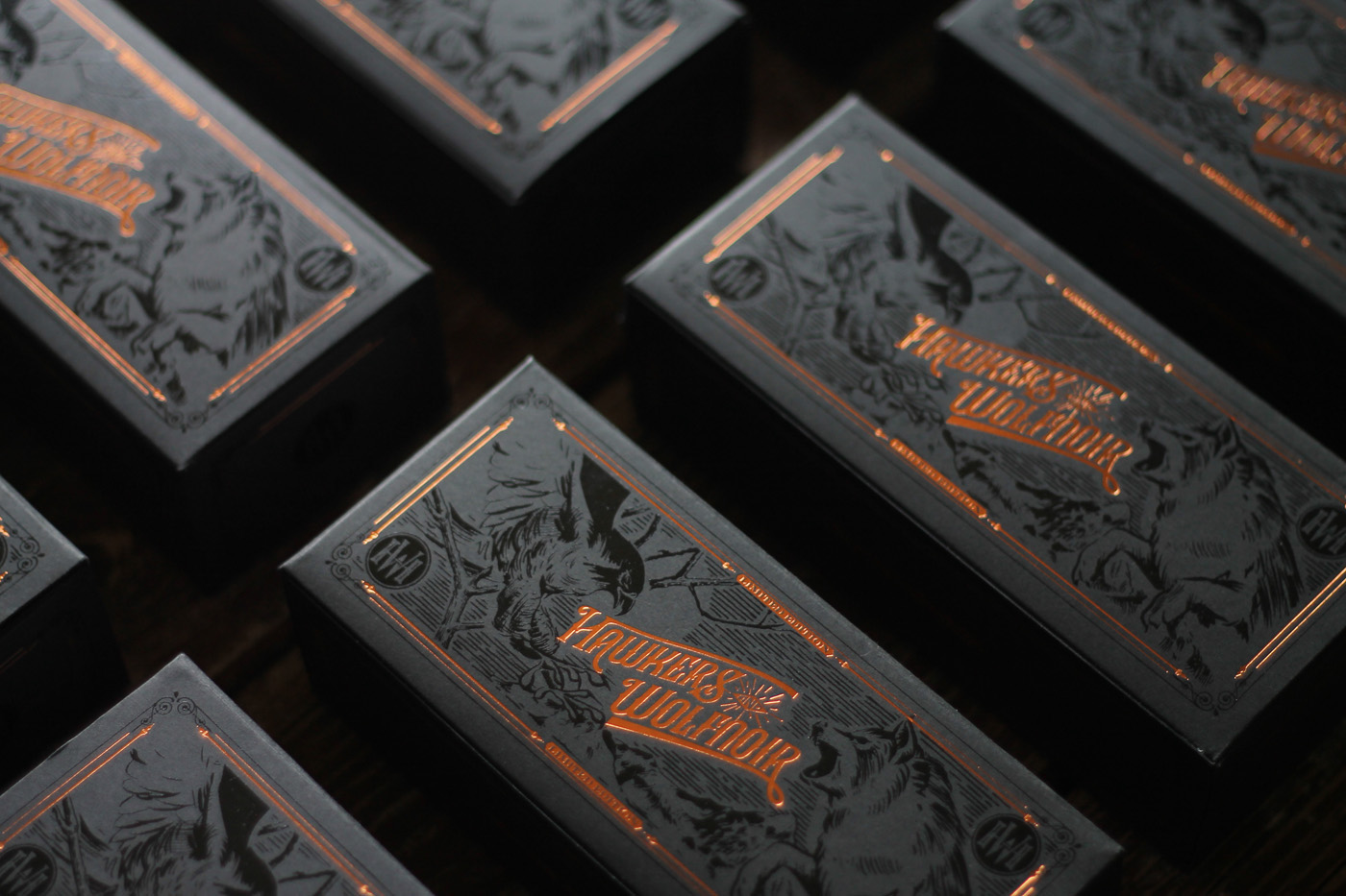 hawkers Wolfnoir David Sanden Roice183 Rock Roice rois box Sunglasses logo lettering engraved copper debossed UVI printing uv printing