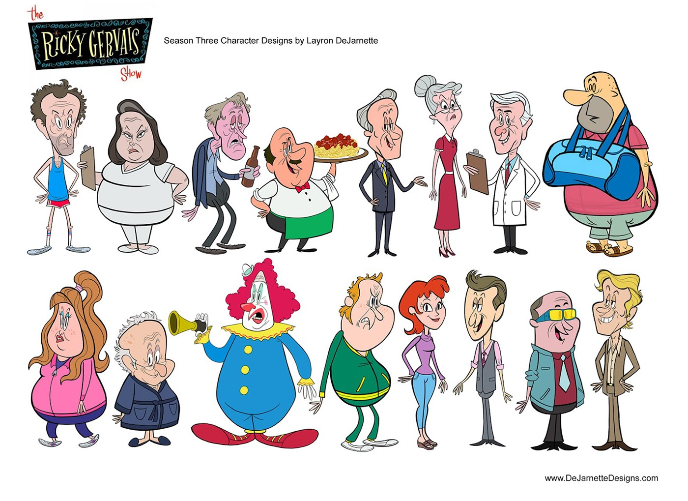Character Design Exhibition : Hbo s the ricky gervais show character designs on behance