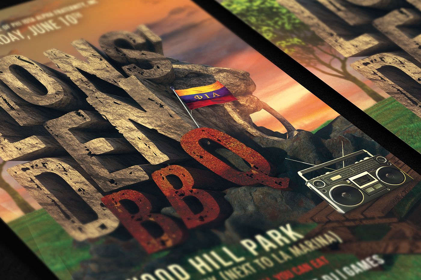 BBQ lion college Park flyer poster print party type Event nyc New York new york city Bronx