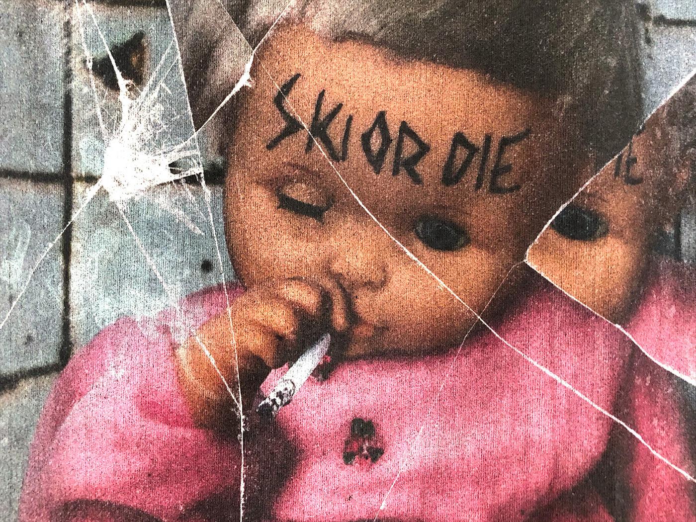 Baby Doll design Distress mirror print shirt smoking t-shirt graphic