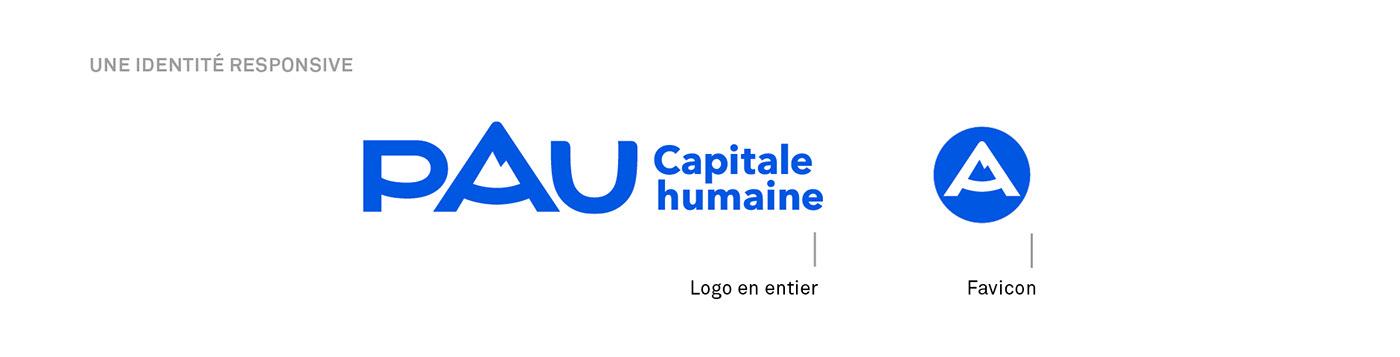 logo brand Icon mountain typography   motion blue city france identity