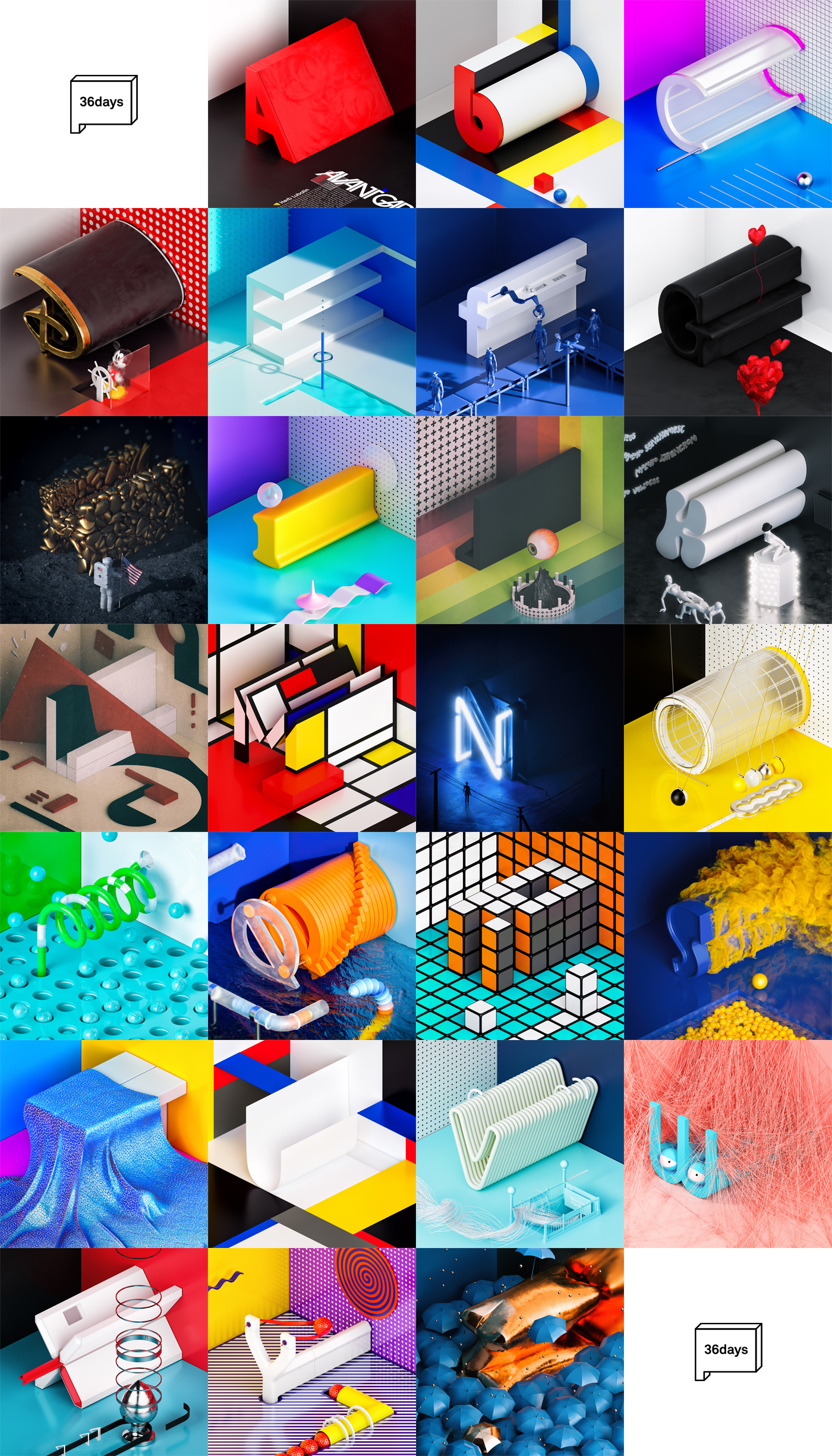 36daysoftype letter type typography   isometry vray 3ds max c4d alphabet