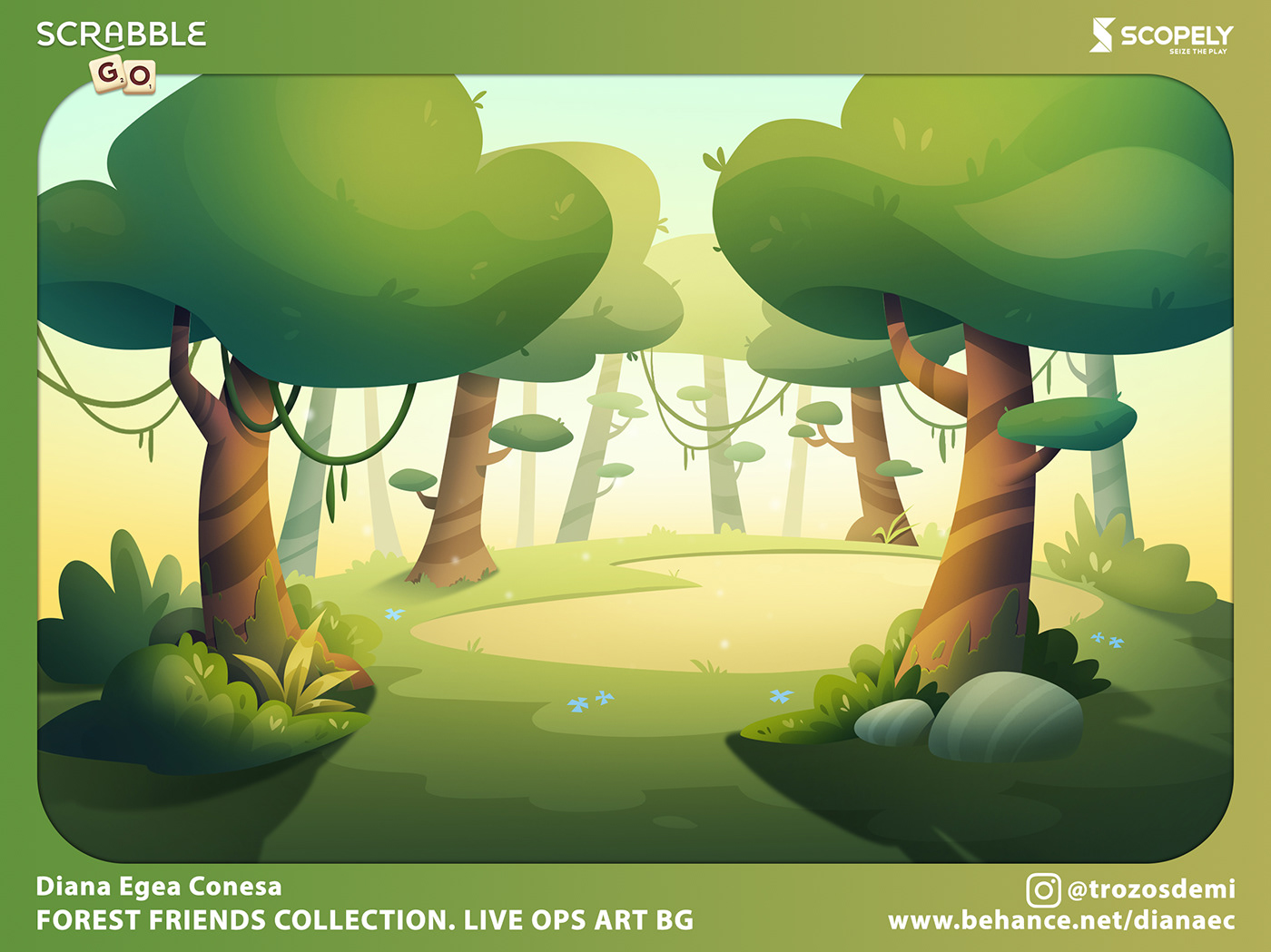 2D cartoon chest forest Game Art live ops logo Popup tile Wordgame