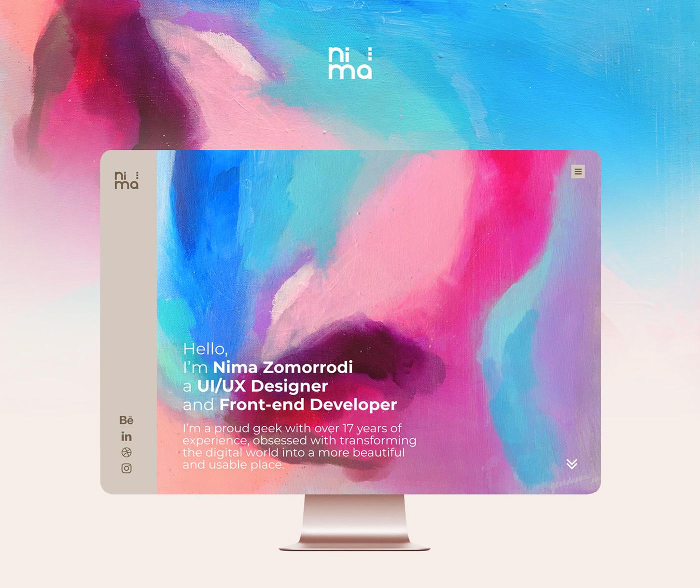 UI ux UI/UX Webdesign personal PersonalWebsite Nima zomorrodi nimazomorrodi watercolor