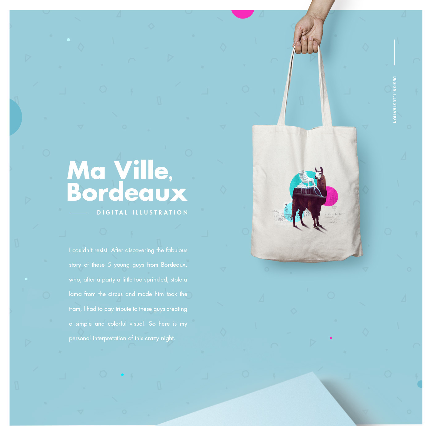 Bordeaux tshirt Serge Le Lama graphic LAMA design digital illustration colorful pillow print