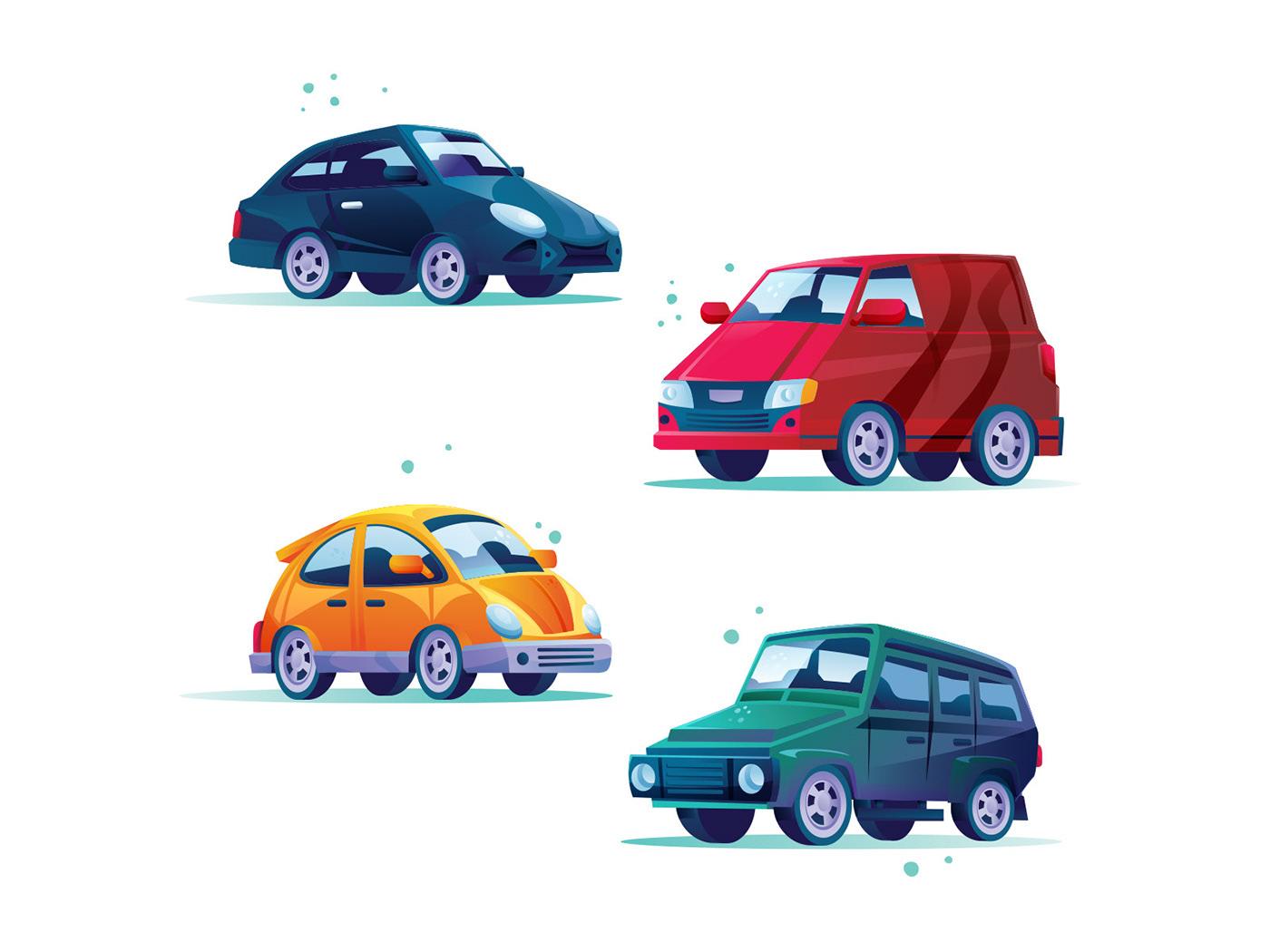 car Character freebie ILLUSTRATION  Illustrator vector vector design vector download Vector Illustration vehicle illustration