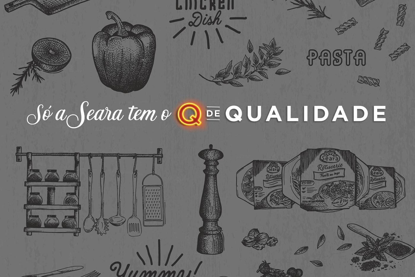 Seara lettering ilustration Food  gourmet type handdrawing