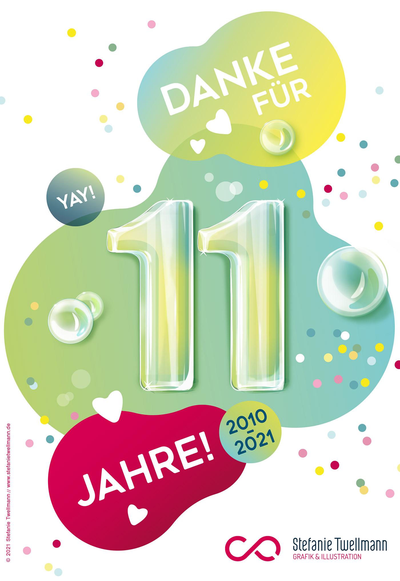bubble,danke,firmengeburtstag,Geburtstag,grafik,ILLUSTRATION ,Jubiläum,kartenillustration,pastell
