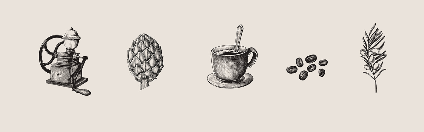 graphic elements visual identity sketch drawing illustrations hand drawn coffee olive coffee grinder