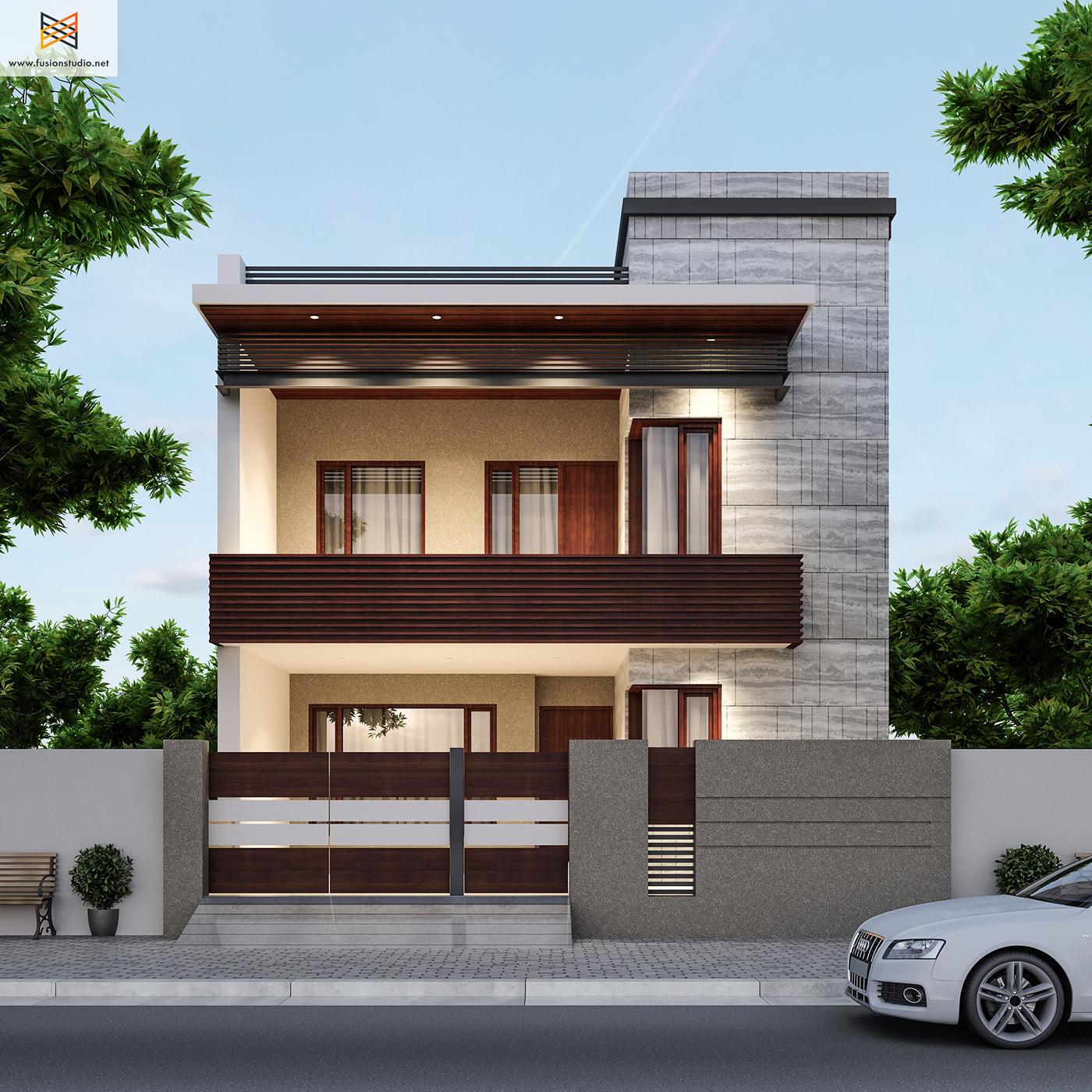 250 yards house elevation on behance for Best indian home designs