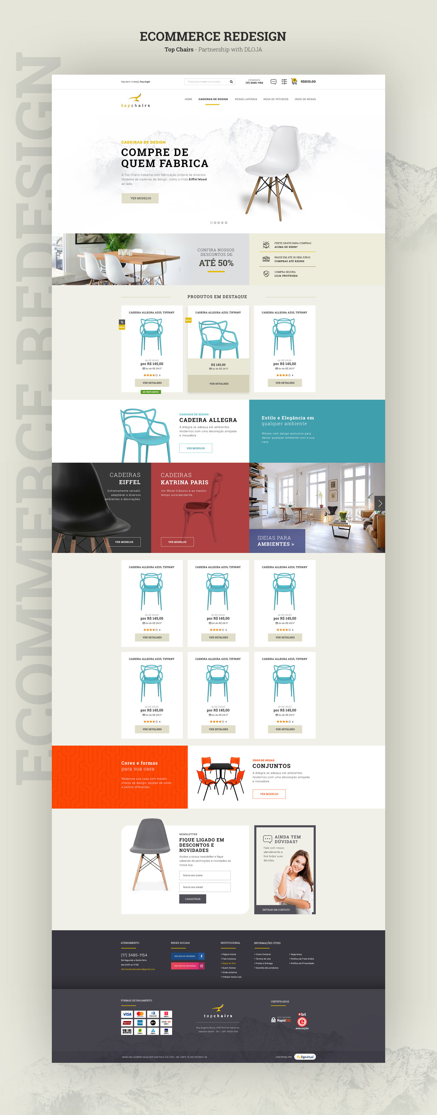 Ecommerce chairs clean White Webdesign Web online store