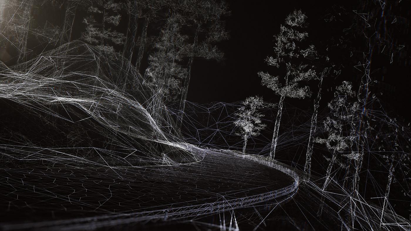 cinema4d xparticles CGI animation  terrain projection simulation Audi car test