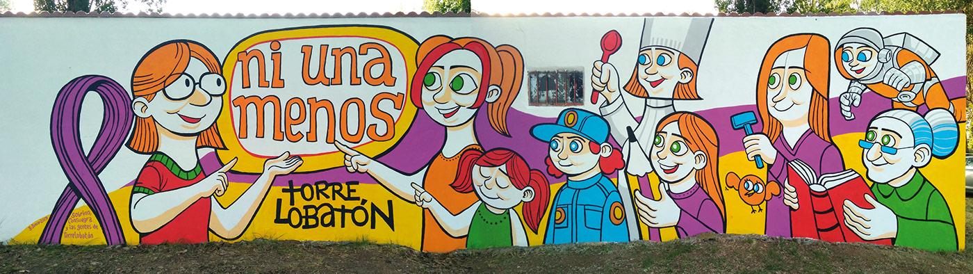 Mural Pueblos villages wall art