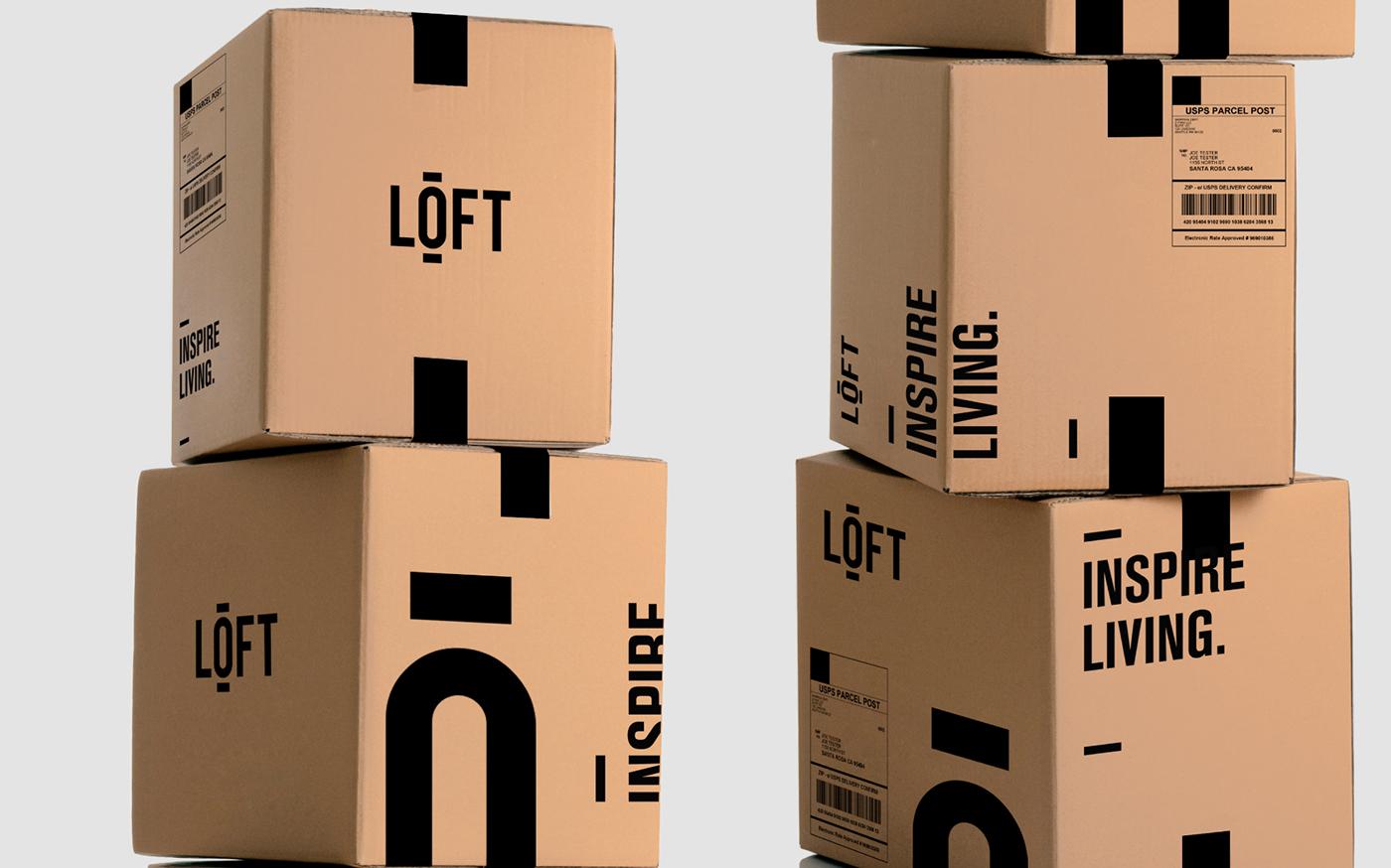 LOFT furniture store showroom brand logo black and white price tag Tagline map wayfinding floorplan slash