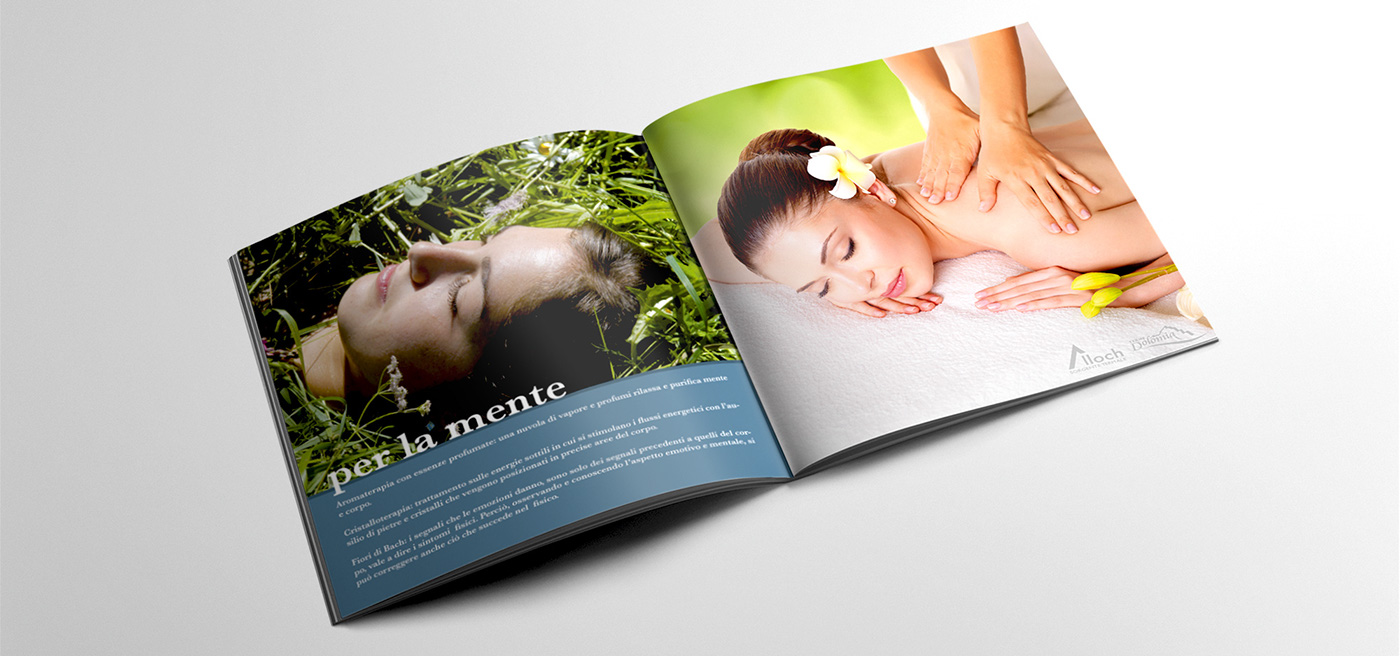 Layout graphic squared brochure istitutional pantone color trentino dolomites thermal hotel