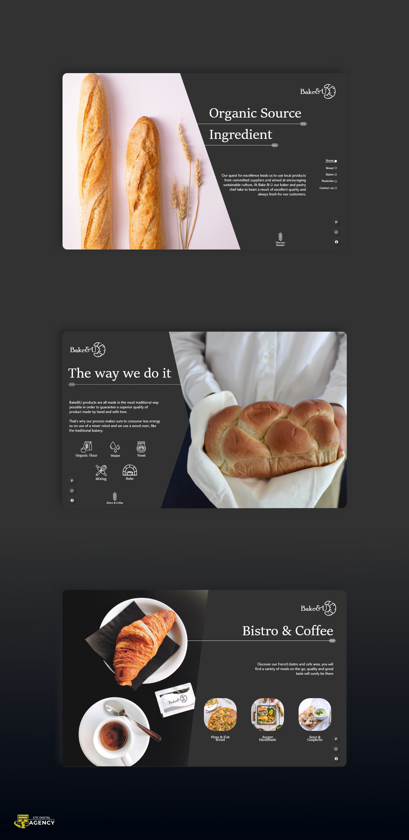 This is a website design for the bakery Bake&U, a bakery-pastry shop in creation in Wilmington.