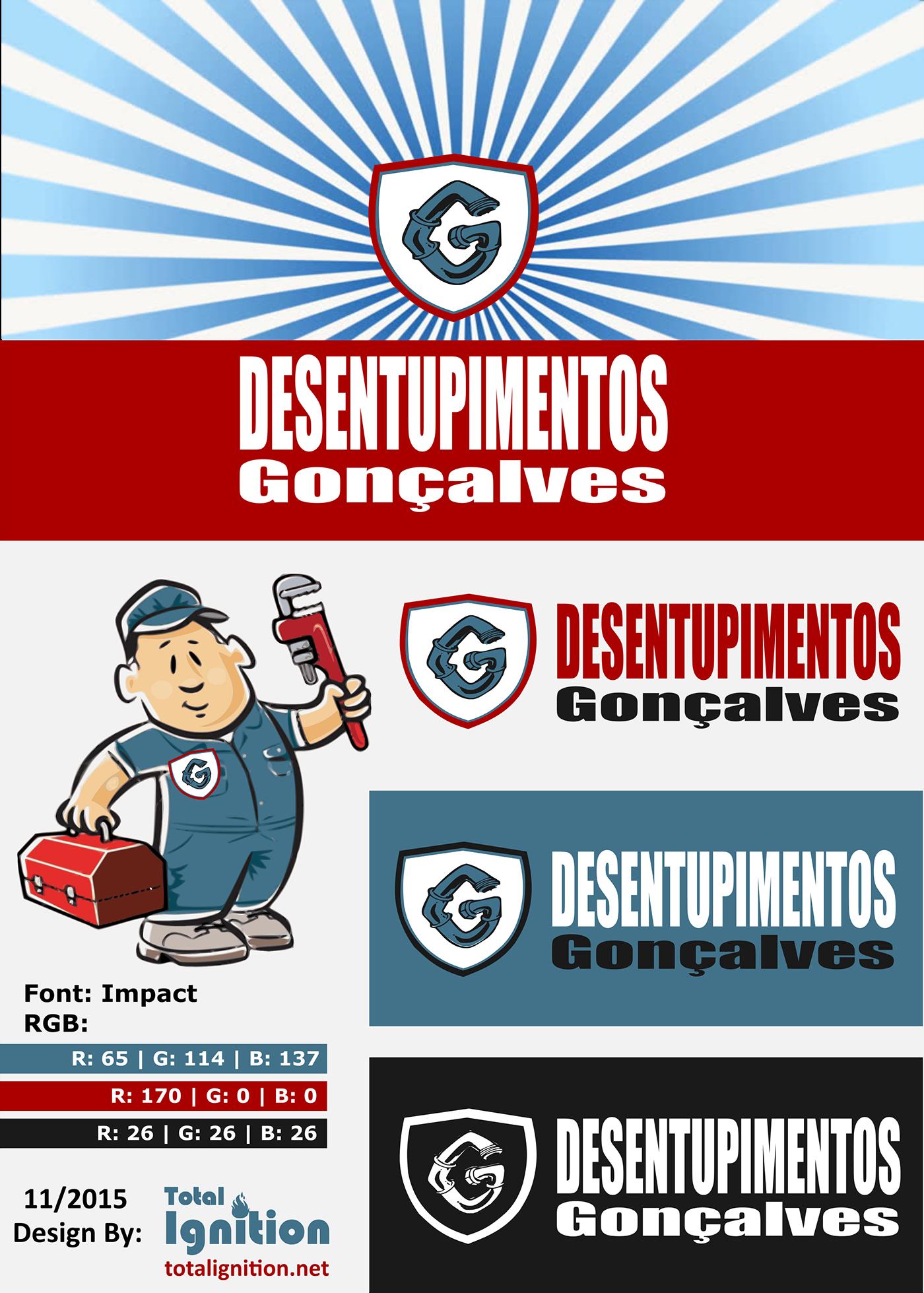 plumber drain sewer esgoto Desentupimento canalizador brand logo site flyer business card brochure cartão visita Algarve Tavira