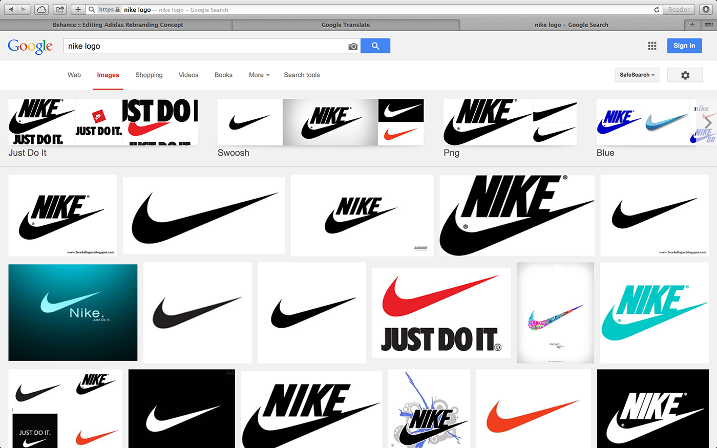 Adidas brand design study on behance results of the search query nike logo in google only one image result is not the logo of nike the brand symbol is correct though buycottarizona Choice Image